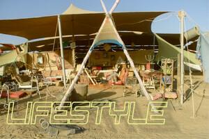 לייפסטייל, נוף מדברי עם אוהל וקישוטים