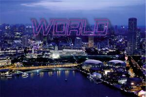 נוף העיר סינגפור בשקיעה