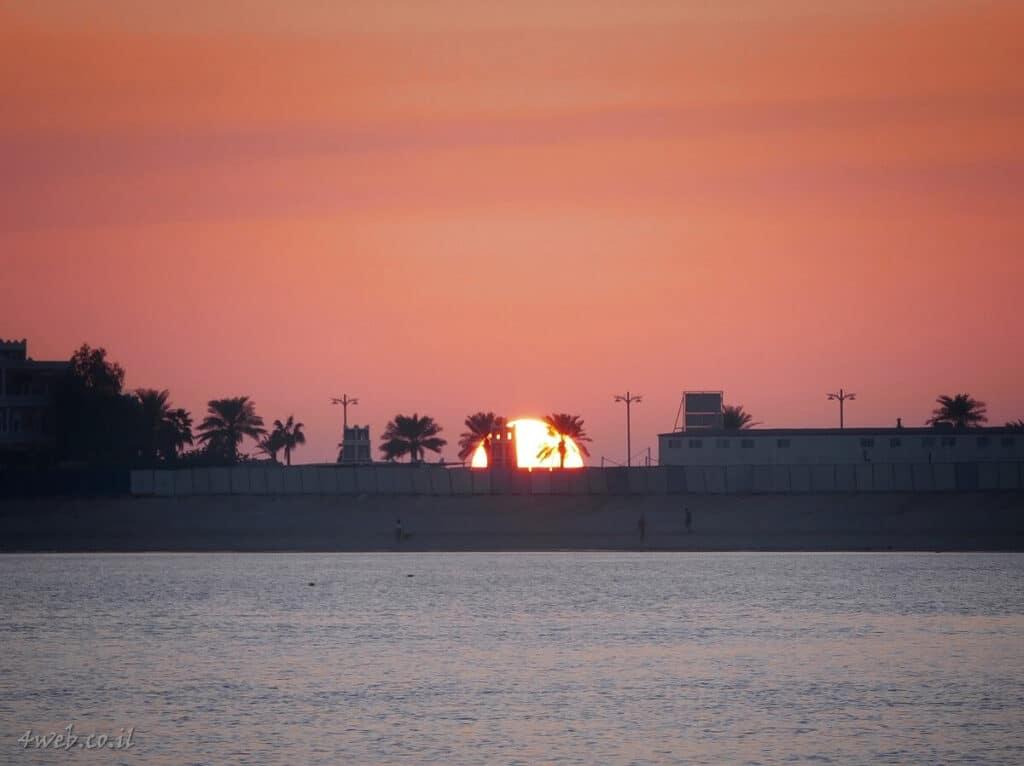 dubai_sunset שקיעה מתוך הפאלם ליד מלון אטלנטיס