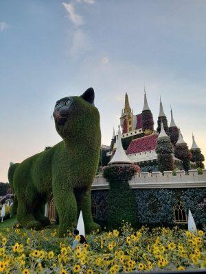 חתול וארמון ענקיים עשויים מפסלים של צמחיה ופרחים