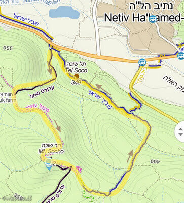מפת הליכה לטיול בגבעת התורמוסים. מקומות לטייל. תל שוחה, גבעת התורמוסים